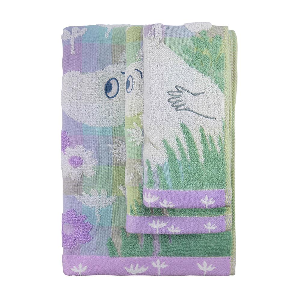 日本丸真|Moomin 無撚紗毛巾-嚕嚕米田野裡玩耍