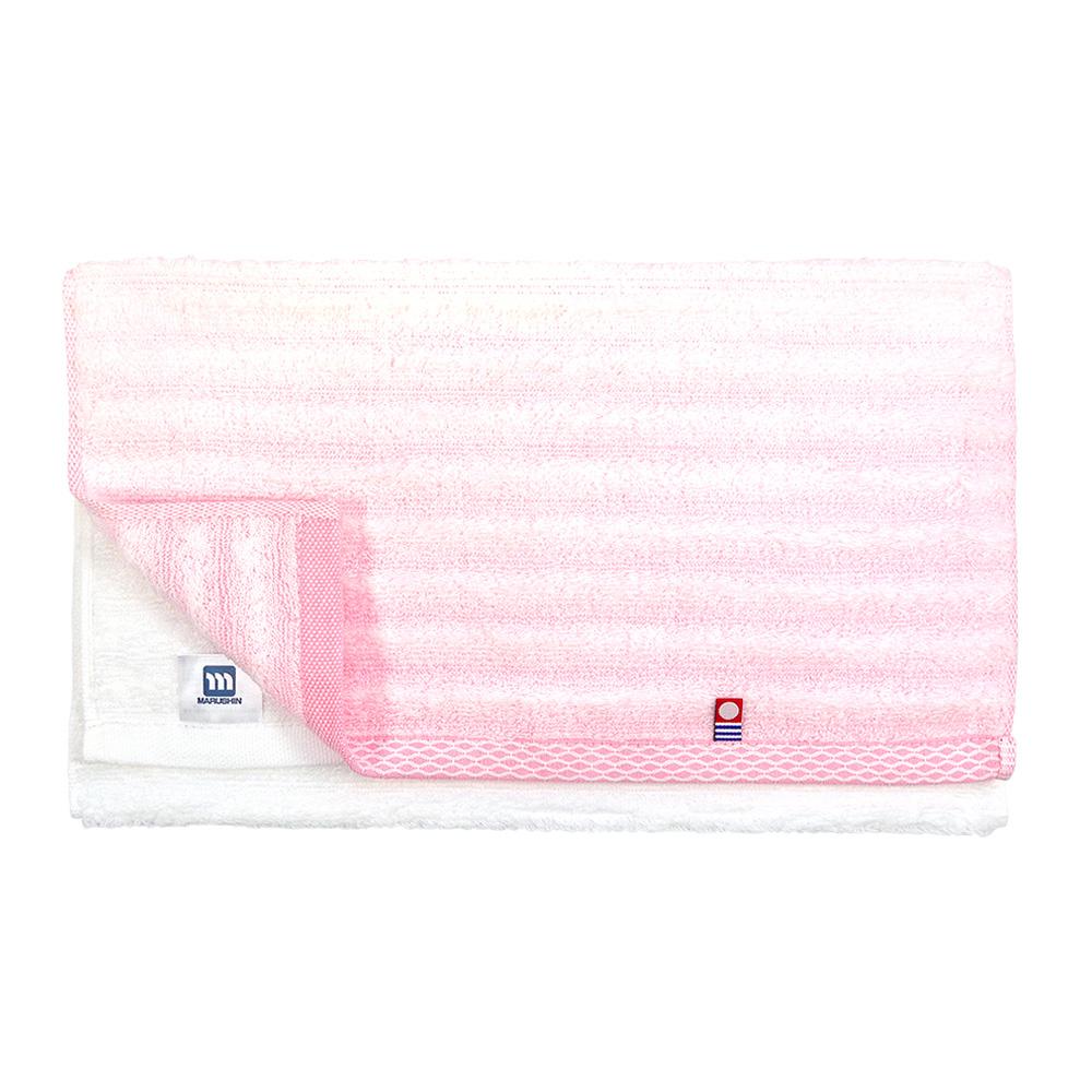 日本丸真|今治無撚紗漸層毛巾-條紋粉