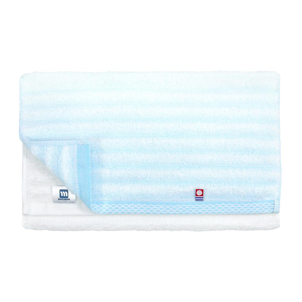 日本丸真|今治無撚紗漸層毛巾-條紋藍