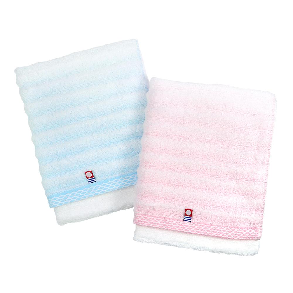 日本丸真|今治無撚紗漸層浴巾-條紋藍