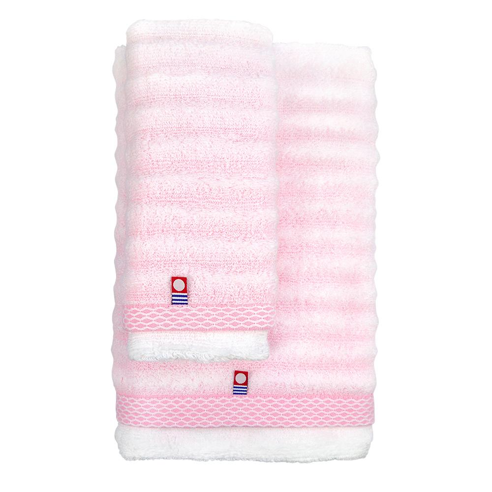 日本丸真|今治無撚紗漸層浴巾-條紋粉