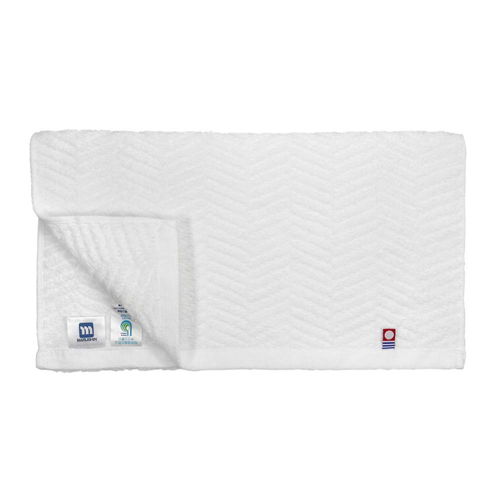 日本丸真|今治原綿純白毛巾-水波紋