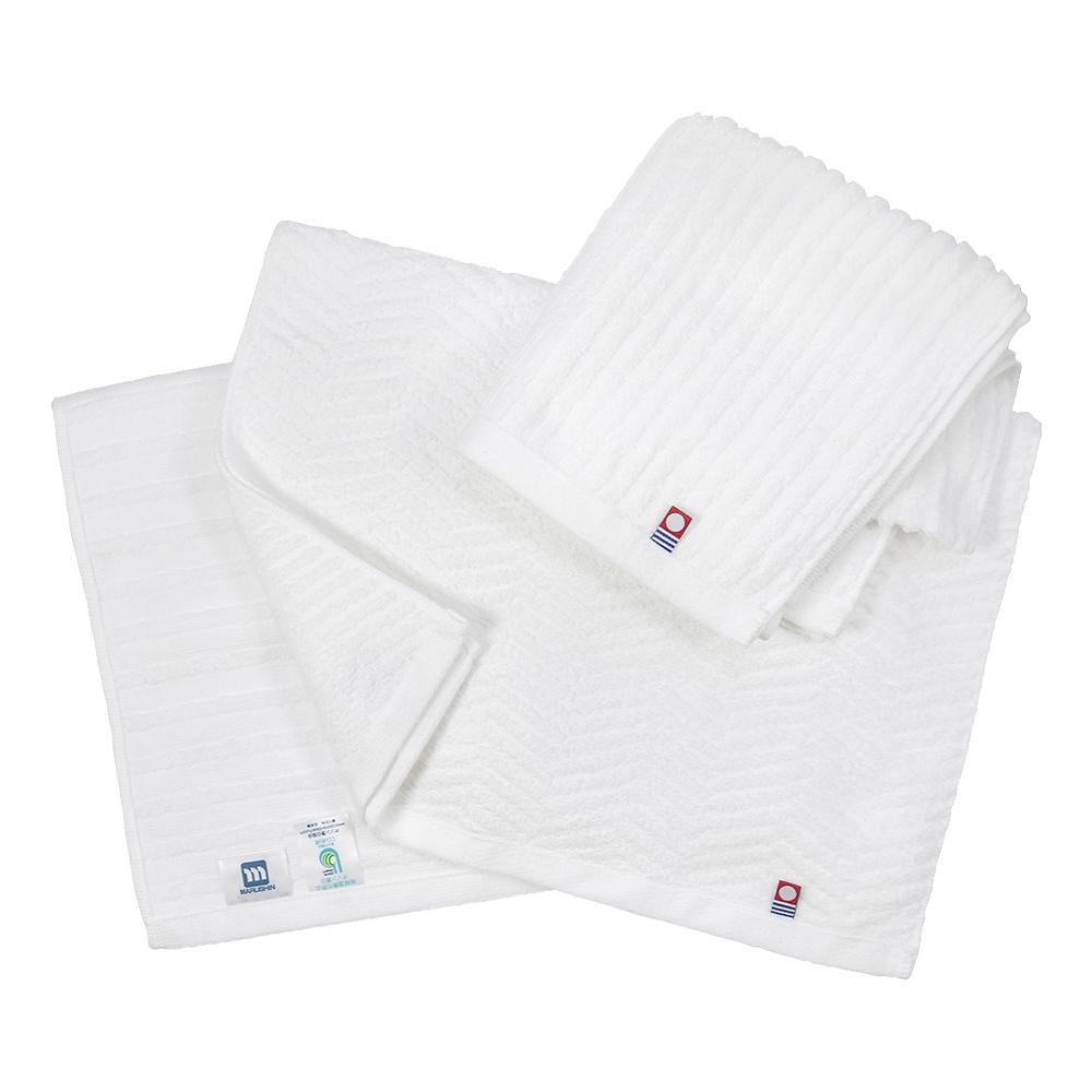 日本丸真|今治原綿純白毛巾-橫紋