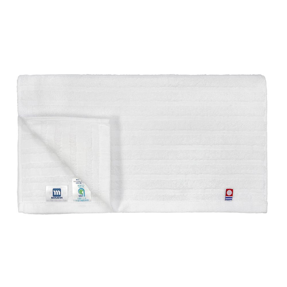 日本丸真 今治原綿純白毛巾-寬條紋