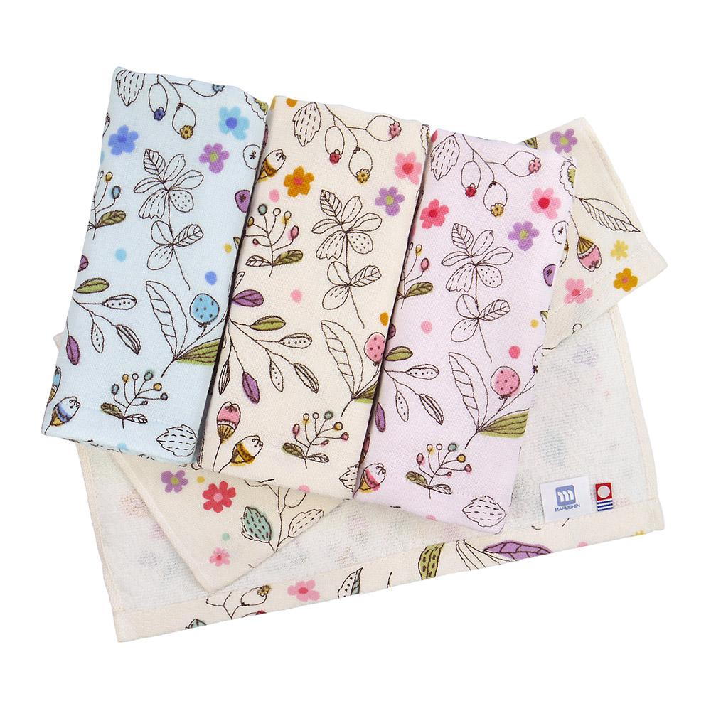 日本丸真|今治紗布純棉花卉毛巾-米色