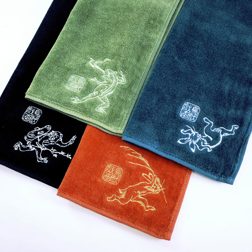 日本丸真|今治鳥獸戲畫蓬鬆吸水刺繡小方巾 青蛙相撲