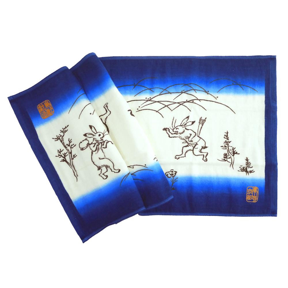 日本丸真|今治鳥獸戲畫紗布吸水毛巾 石水院