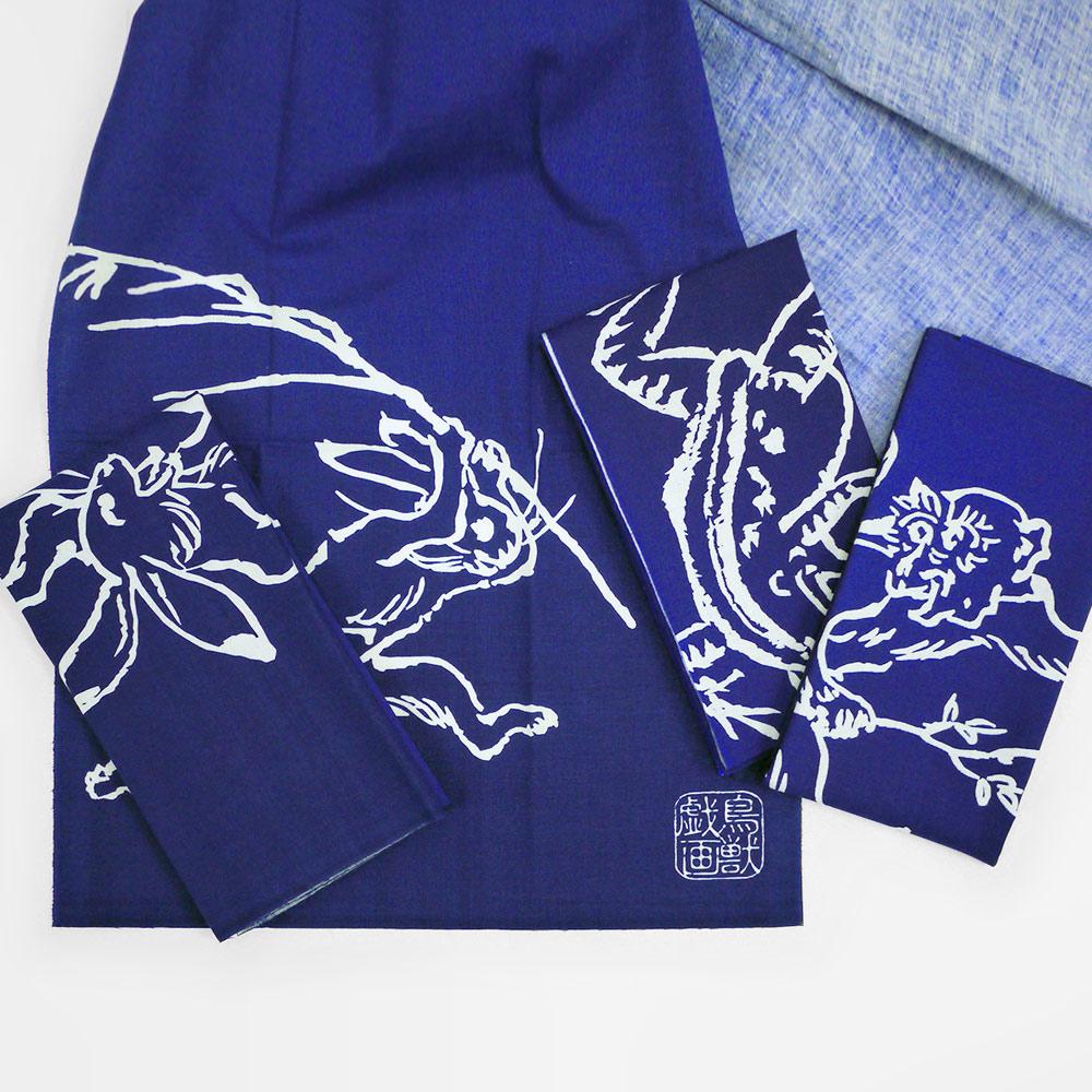 日本丸真 鳥獸戲畫典藏日式多功能手巾 兔子相撲