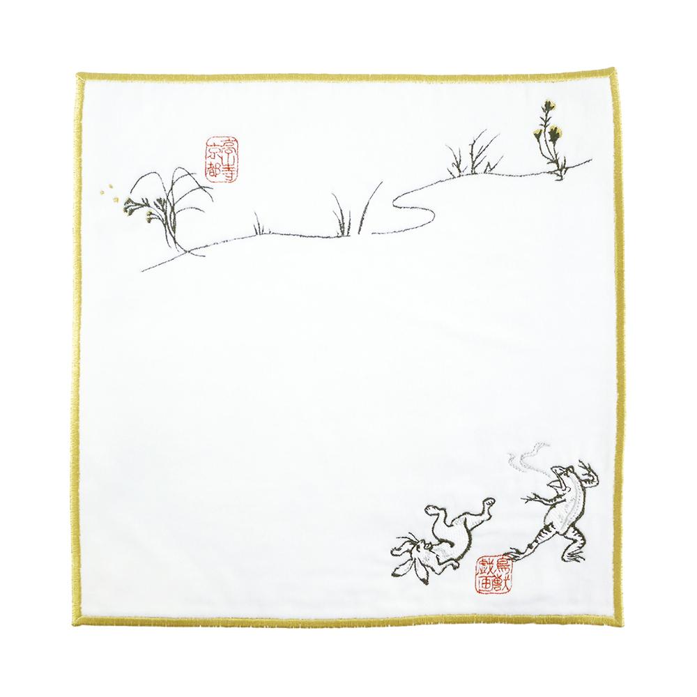 日本丸真|高山寺鳥獸戲畫刺繡手帕 相撲