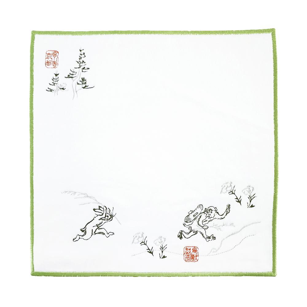 日本丸真 高山寺鳥獸戲畫刺繡手帕 追逐