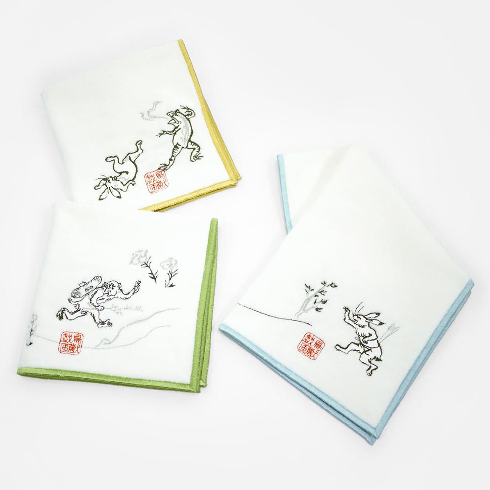 日本丸真|高山寺鳥獸戲畫刺繡手帕 射箭