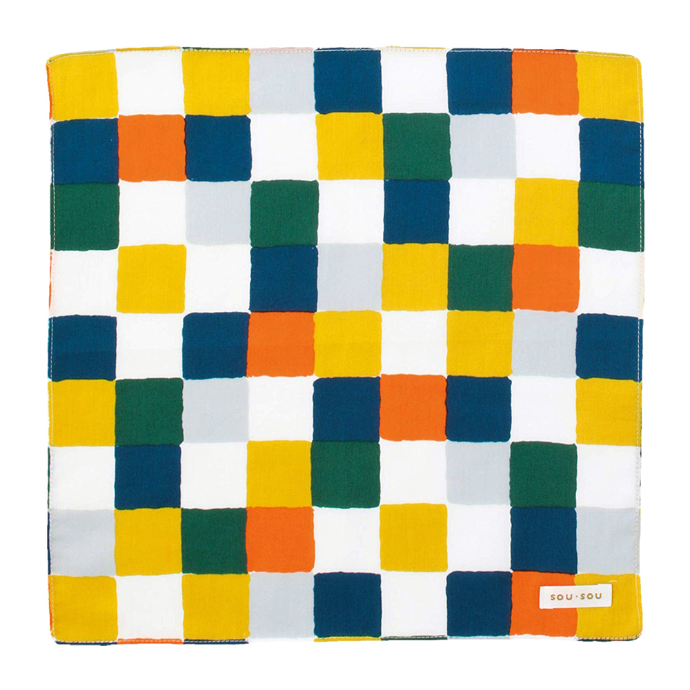 日本丸真|SOU SOU 京都新和風萬用手帕 藍黃格