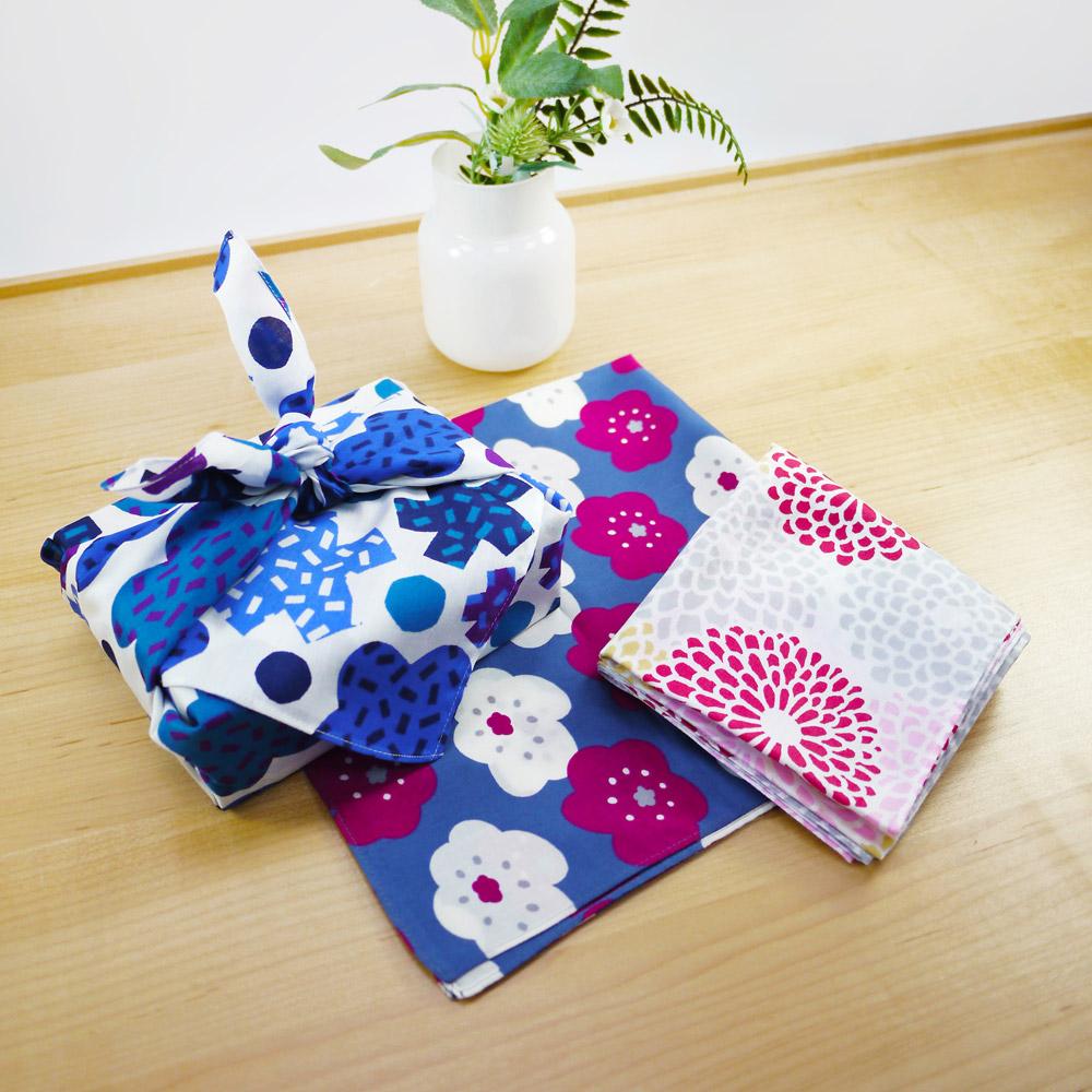 日本丸真 SOU·SOU 京都新和風風呂敷萬用巾 藍黃格