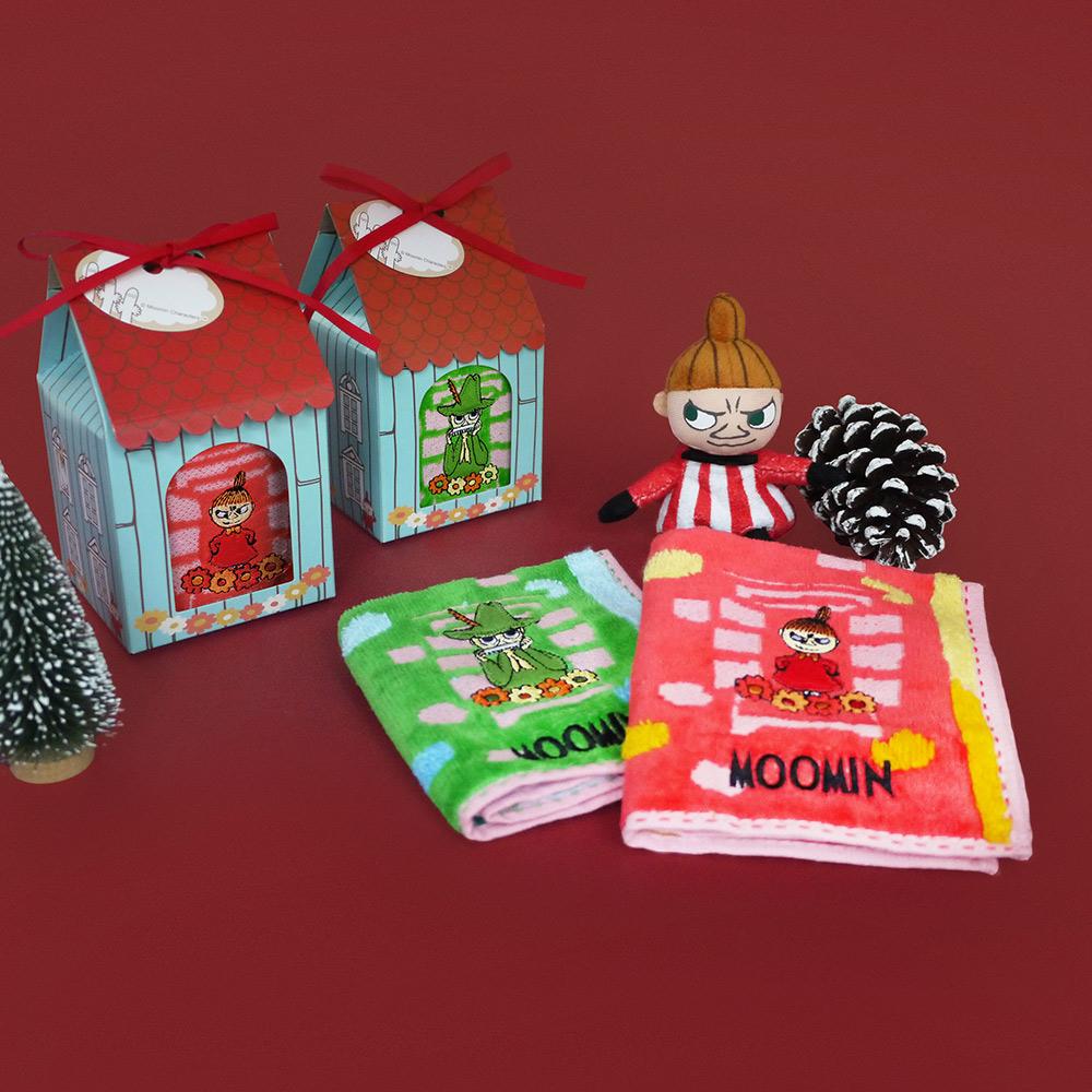 日本丸真|Moomin 刺繡方巾房子禮盒 紅