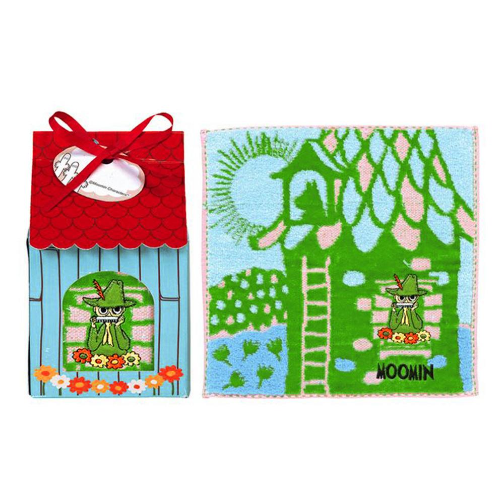 日本丸真|Moomin 刺繡方巾房子禮盒 綠