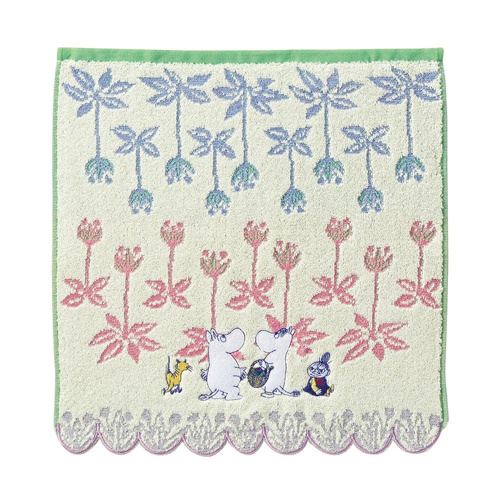 日本丸真|Moomin花朵叢林無撚刺繡洗臉巾