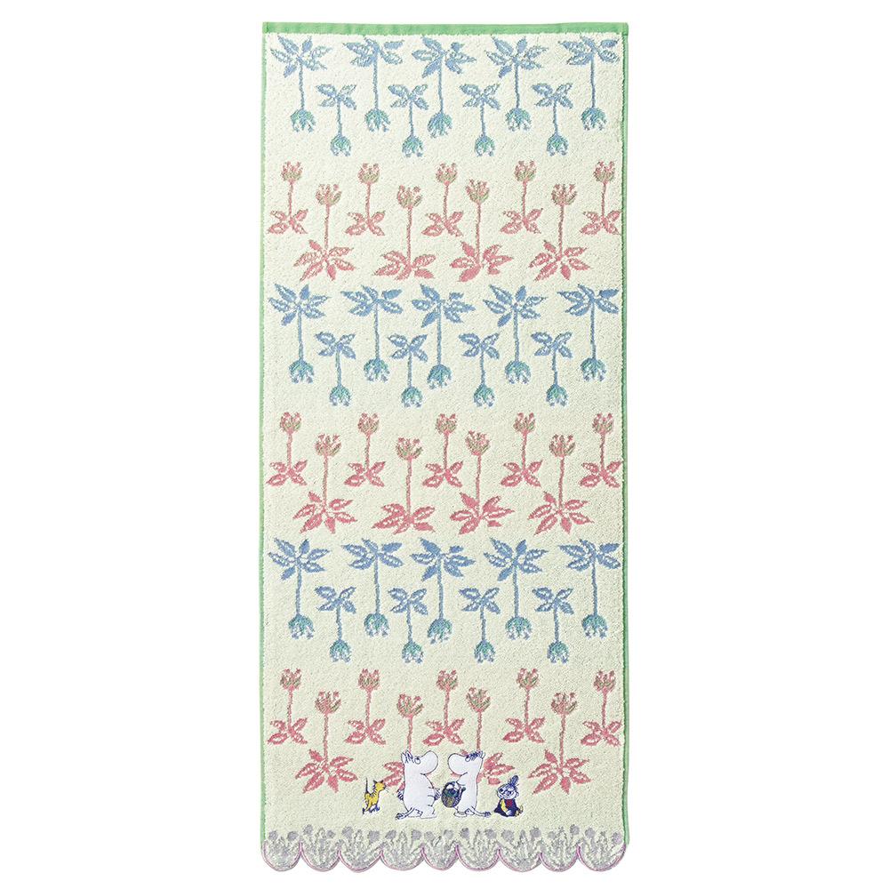 日本丸真 Moomin花朵叢林無撚刺繡毛巾