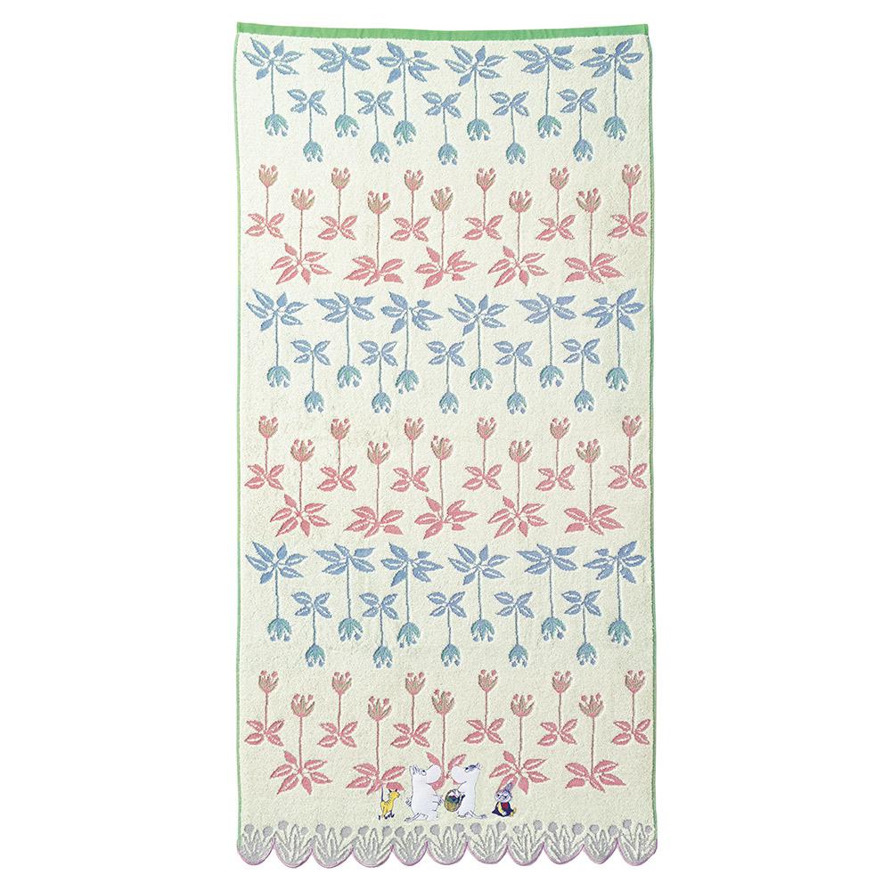 日本丸真|Moomin花朵叢林無撚刺繡浴巾