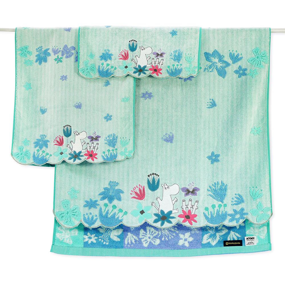 日本丸真|Moomin花雨世界無撚刺繡小方巾 嚕嚕米藍