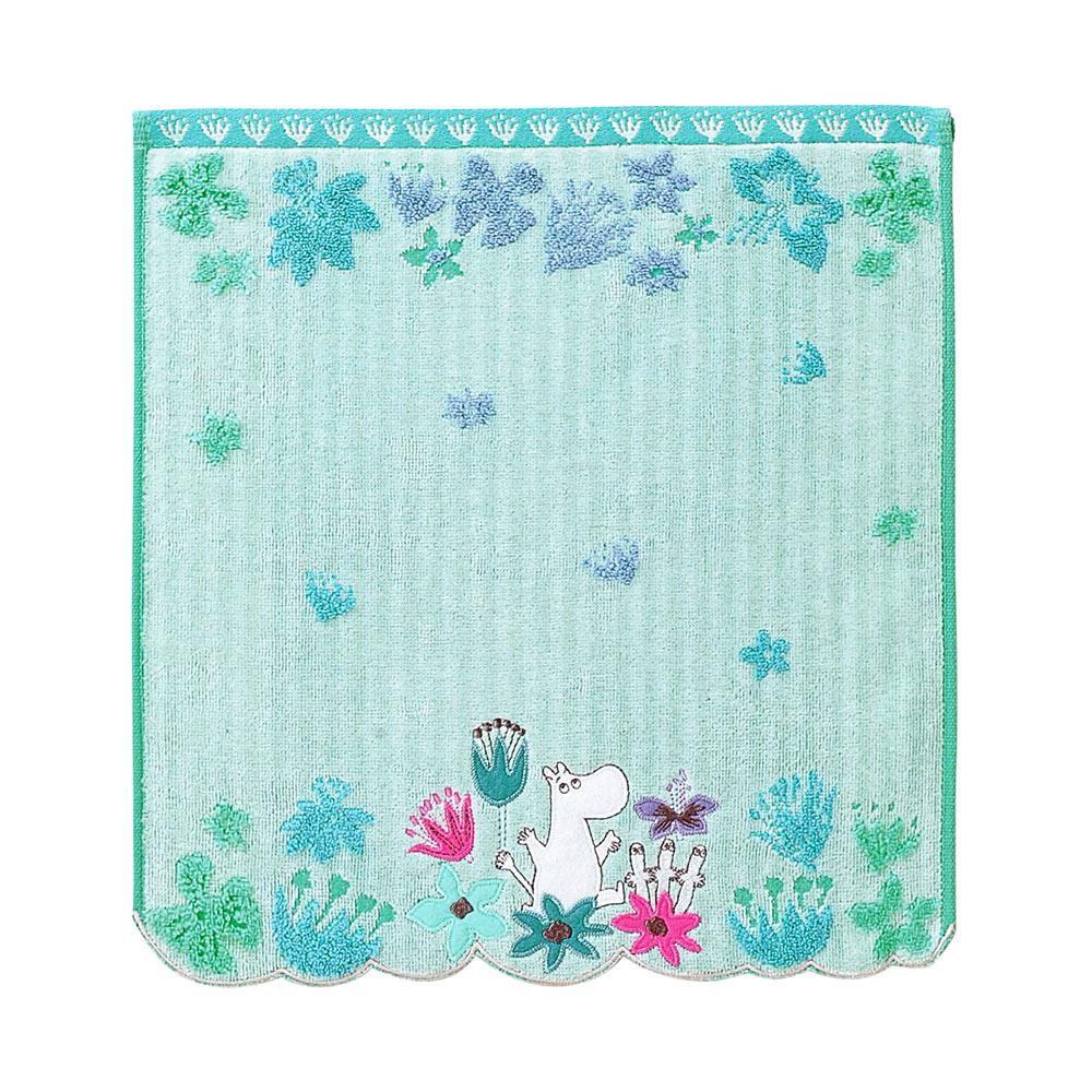 日本丸真|Moomin花雨世界無撚刺繡洗臉巾 嚕嚕米藍