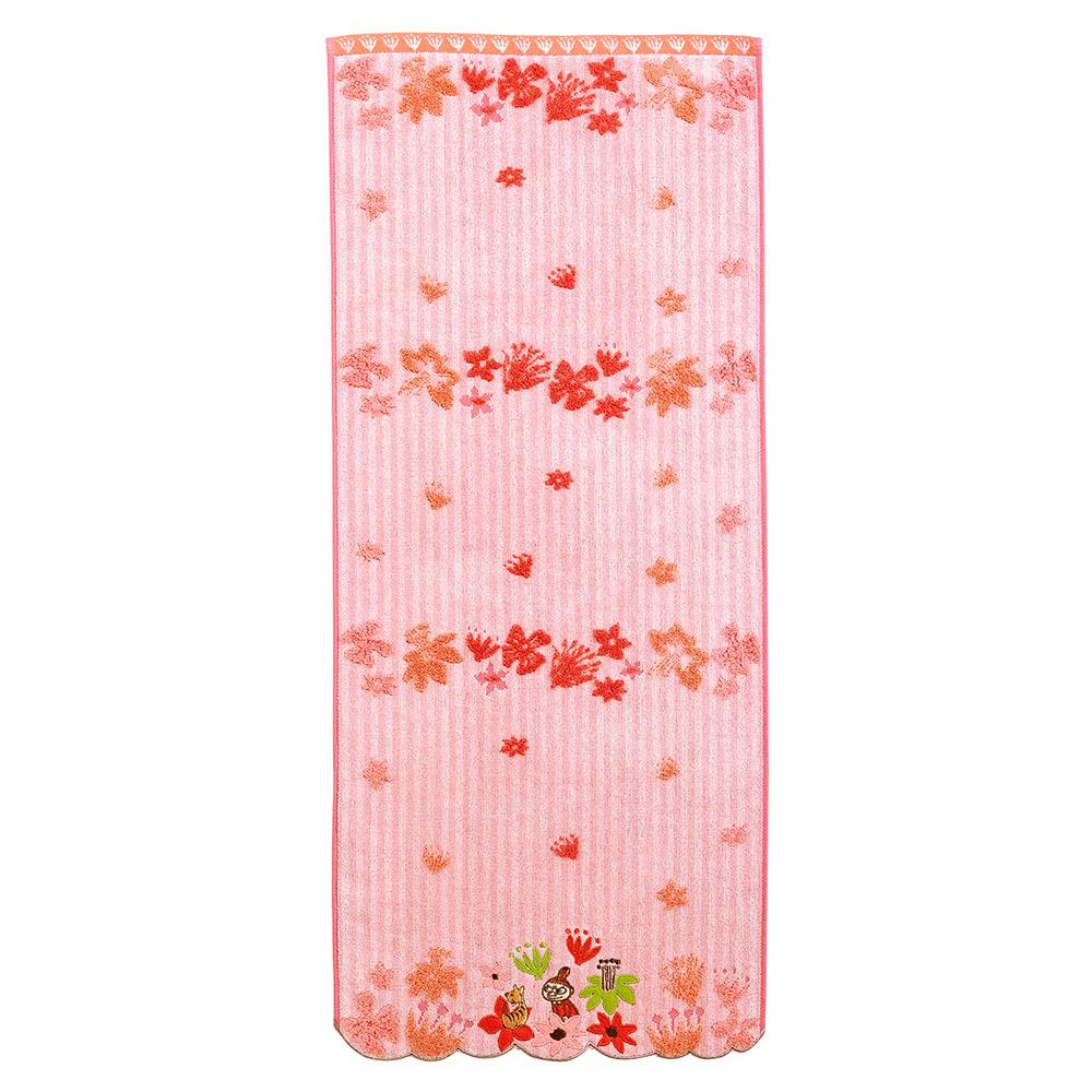 日本丸真|Moomin花雨世界無撚刺繡毛巾 小不點粉