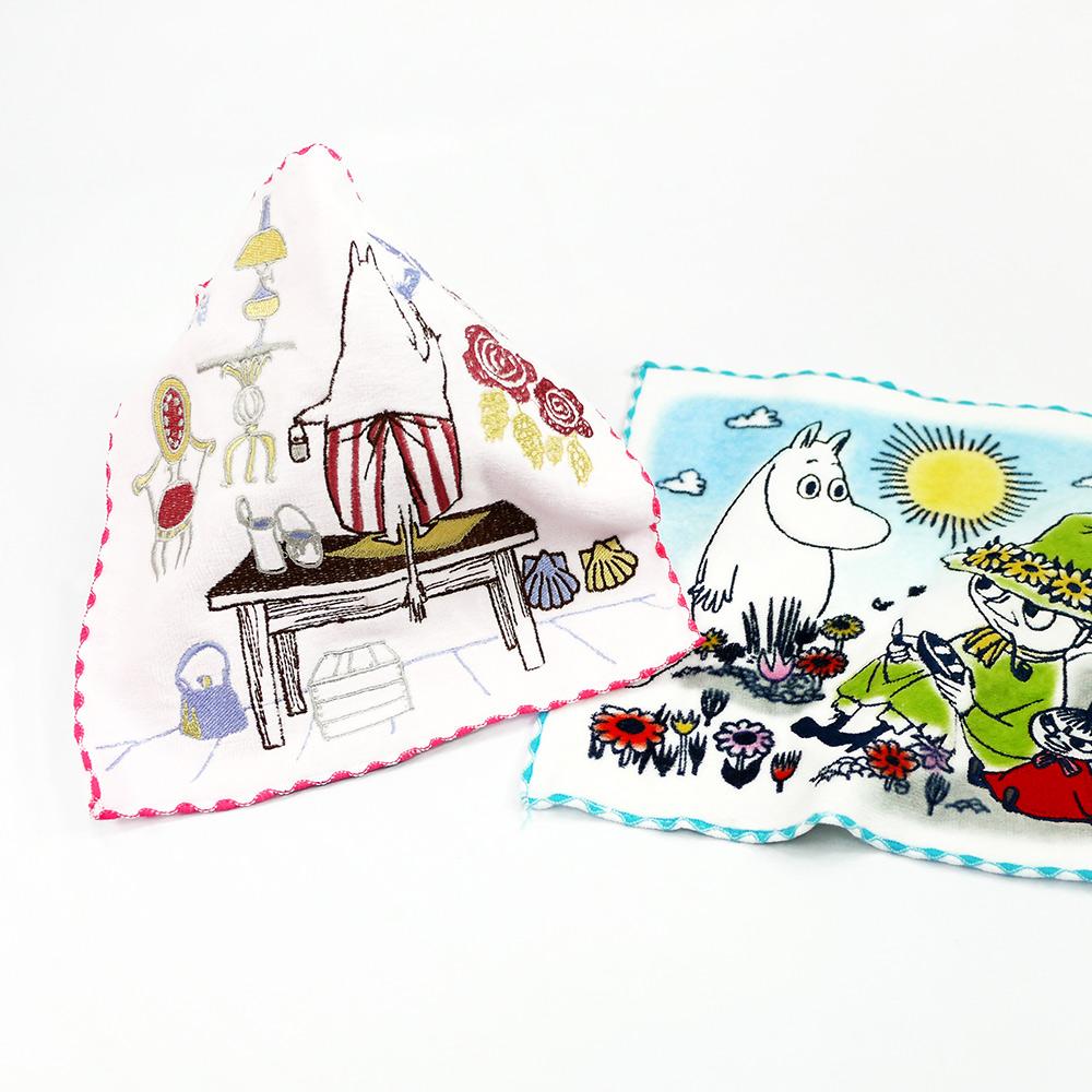 日本丸真|Moomin刺繡小方巾 夢幻花圈藍邊
