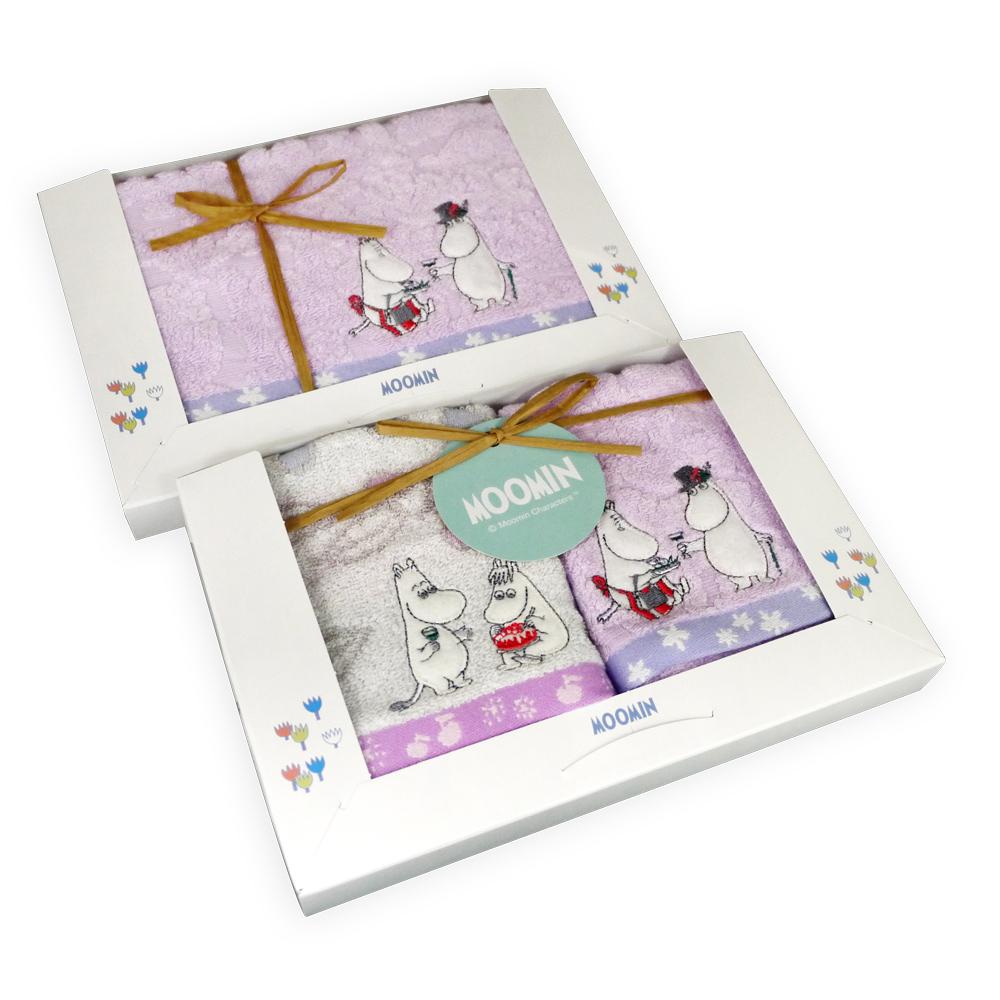 日本丸真|Moomin 盛開派對毛巾禮盒 三件組
