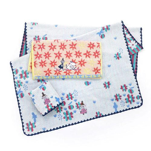 日本丸真|Moomin 盛開的日子雙面毛浴巾禮盒
