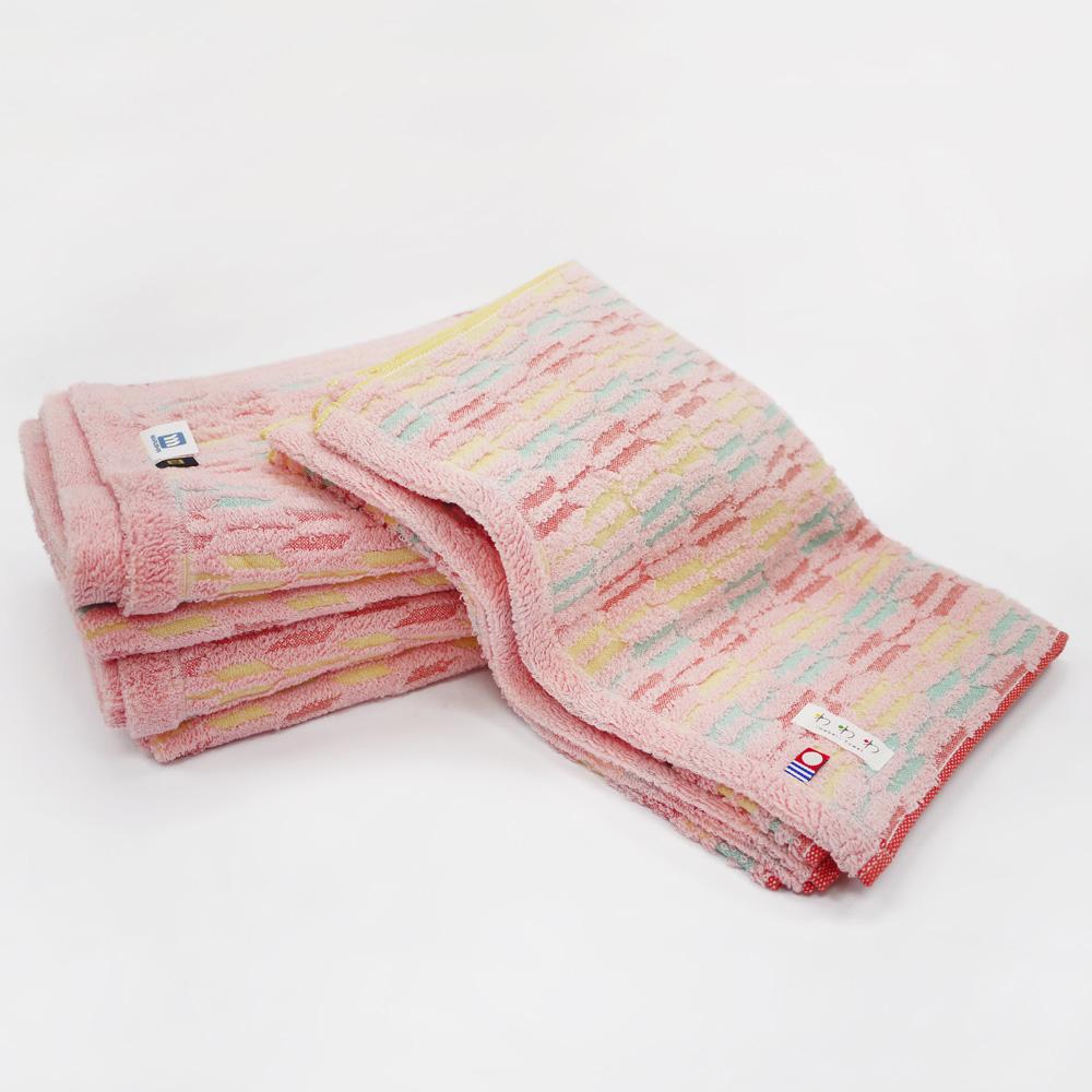 日本丸真 今治繽紛箭羽浴巾粉