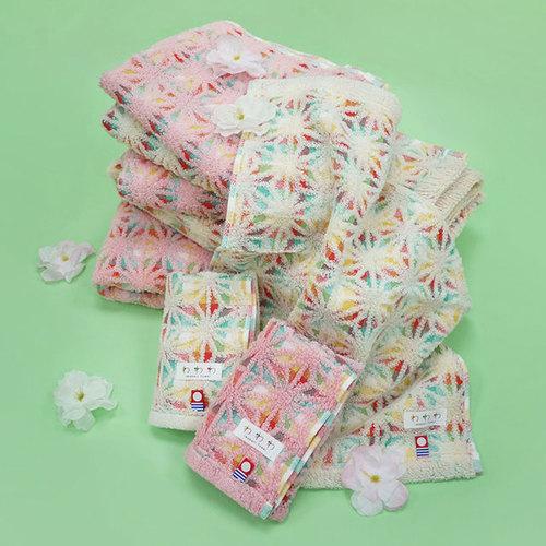 日本丸真|今治繽紛麻葉毛巾 粉