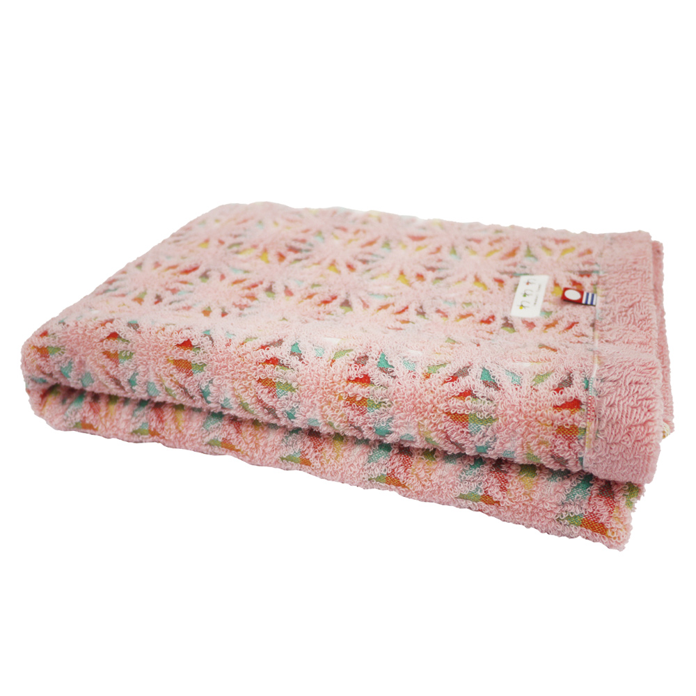 日本丸真|今治繽紛麻葉浴巾 粉