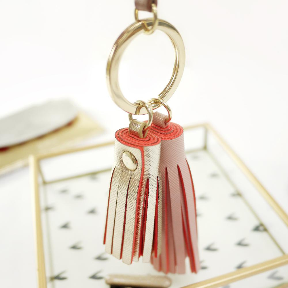 Caroline Gardner|皮質流蘇鑰匙圈(大)櫻花粉
