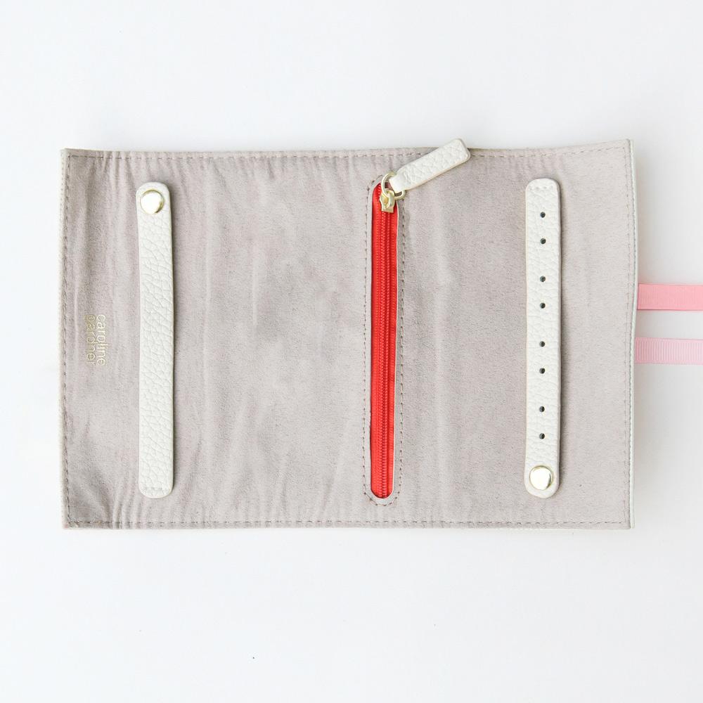 Caroline Gardner|捲式旅行飾品收納袋(小)黑白愛心