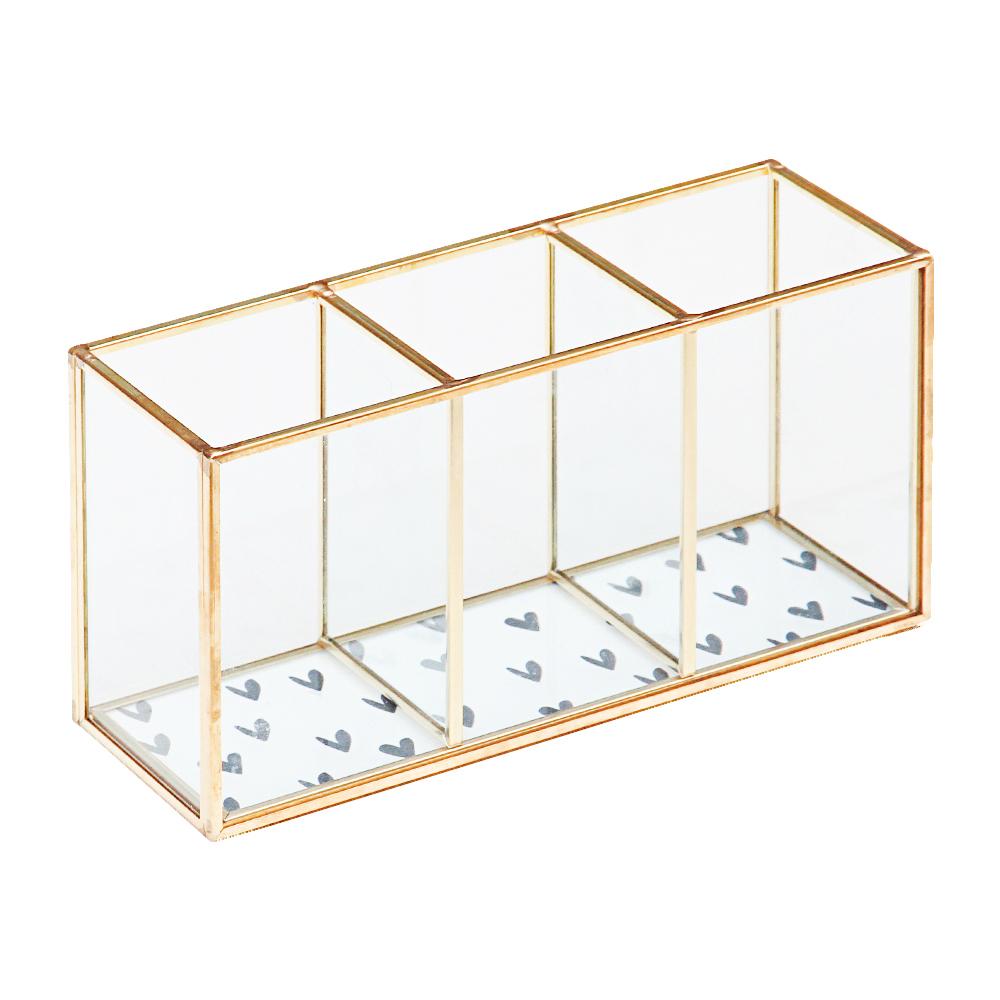 Caroline Gardner 燙金玻璃三格收納盒 黑白愛心