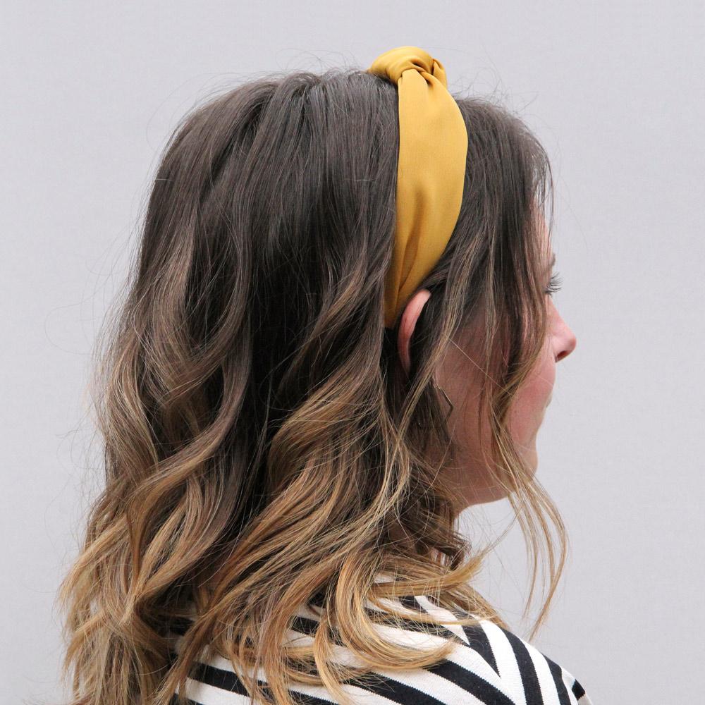 Caroline Gardner|復古扭結包布髮箍 芥末黃