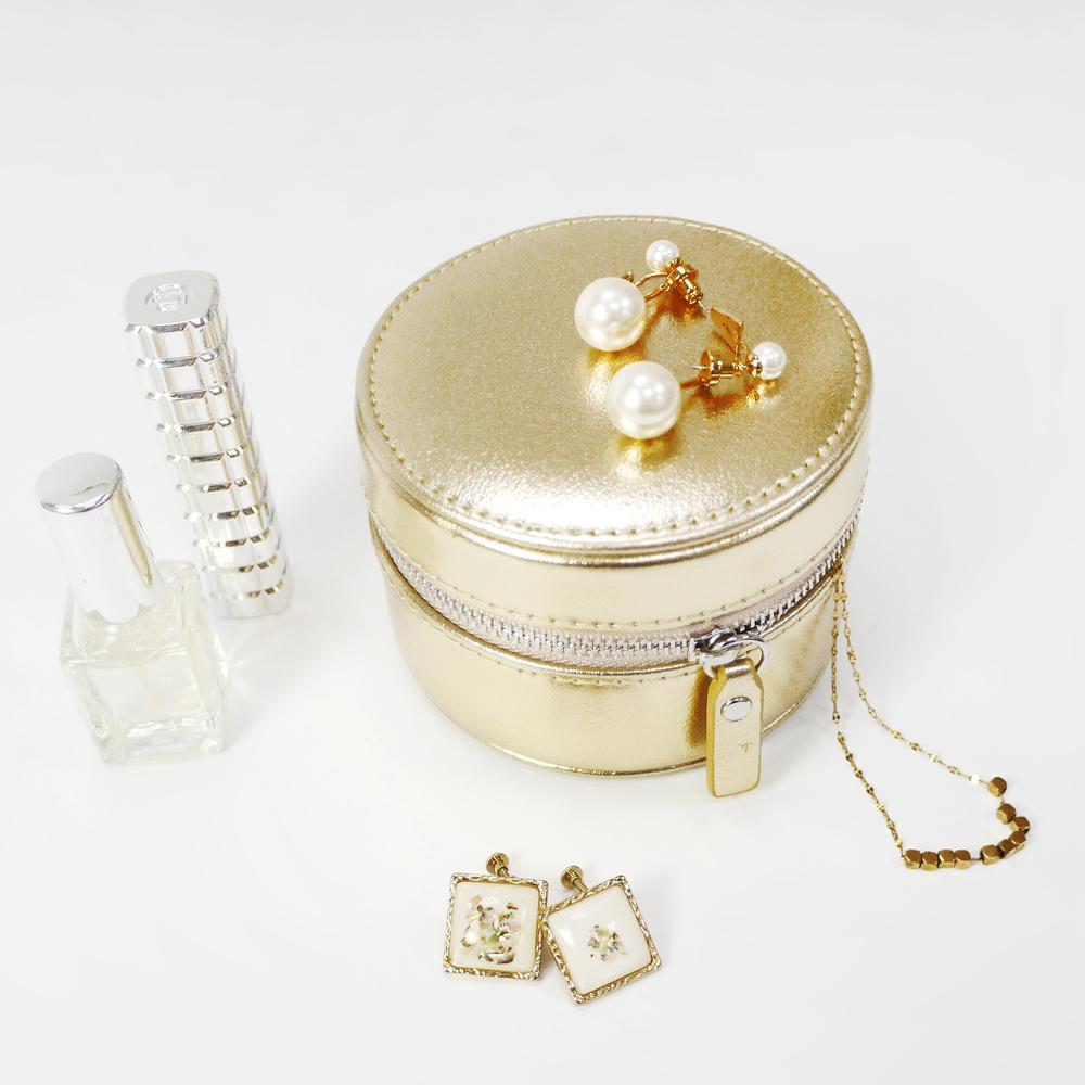 Caroline Gardner|輕量旅行圓型飾品收納盒 香檳金