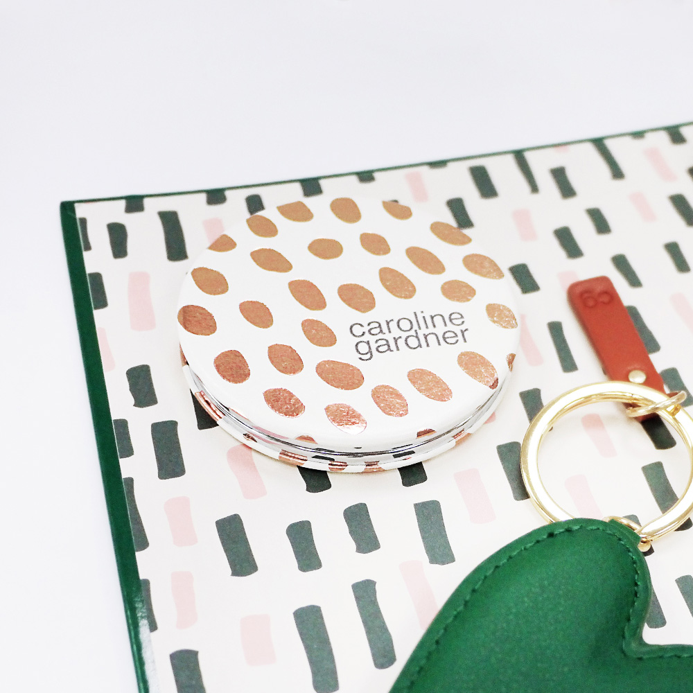 Caroline Gardner|摺疊隨身雙面鏡   金屬圓紋