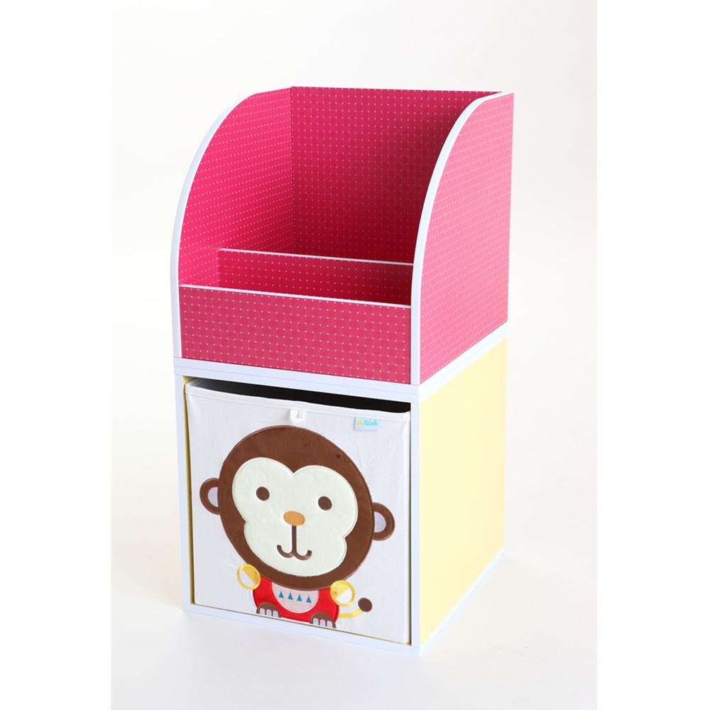MyTolek童樂可 積木櫃收納系列-書架架(點點粉紅)