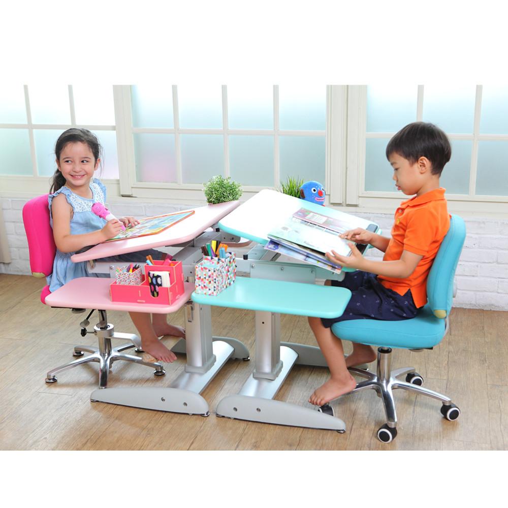 MyTolek童樂可|樂適桌&挺立椅兒童成長書桌椅套組-80CM舒適版(湯瑪士藍)