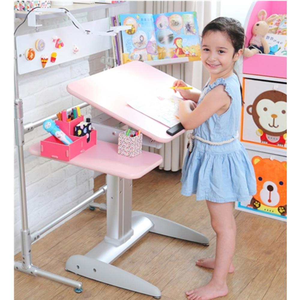 MyTolek童樂可|樂適桌&挺立椅兒童成長書桌椅套組-60CM精巧版(桃樂絲粉)