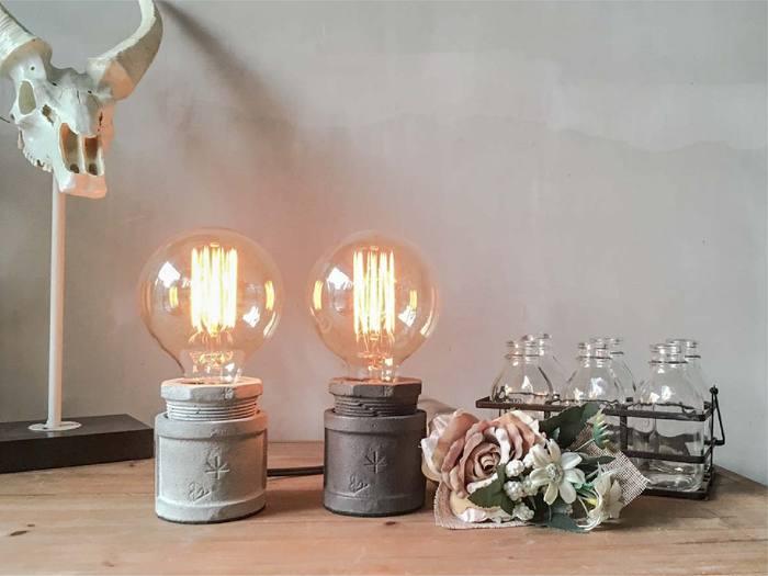 曙MUSE|仿水管水泥桌燈(灰白兩色)