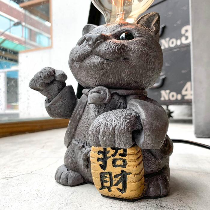 曙MUSE | 招財貓水泥桌燈