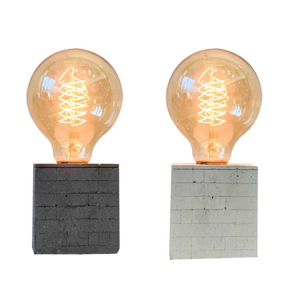 曙MUSE |質感磚紋水泥桌燈(兩色任選)