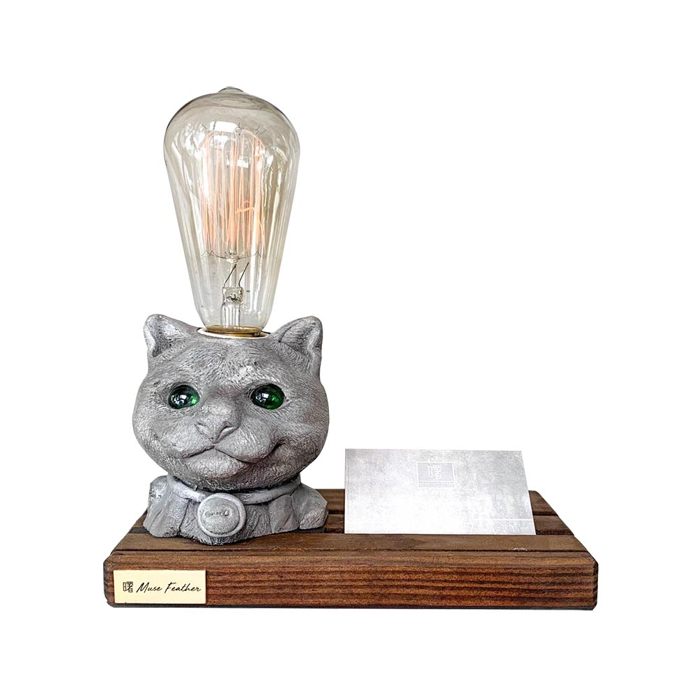 曙MUSE|貓咪木底名片座桌燈