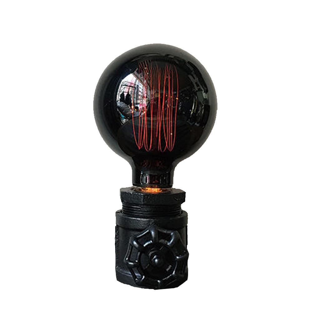 曙MUSE 個性黑漆水管桌燈黑燈泡版