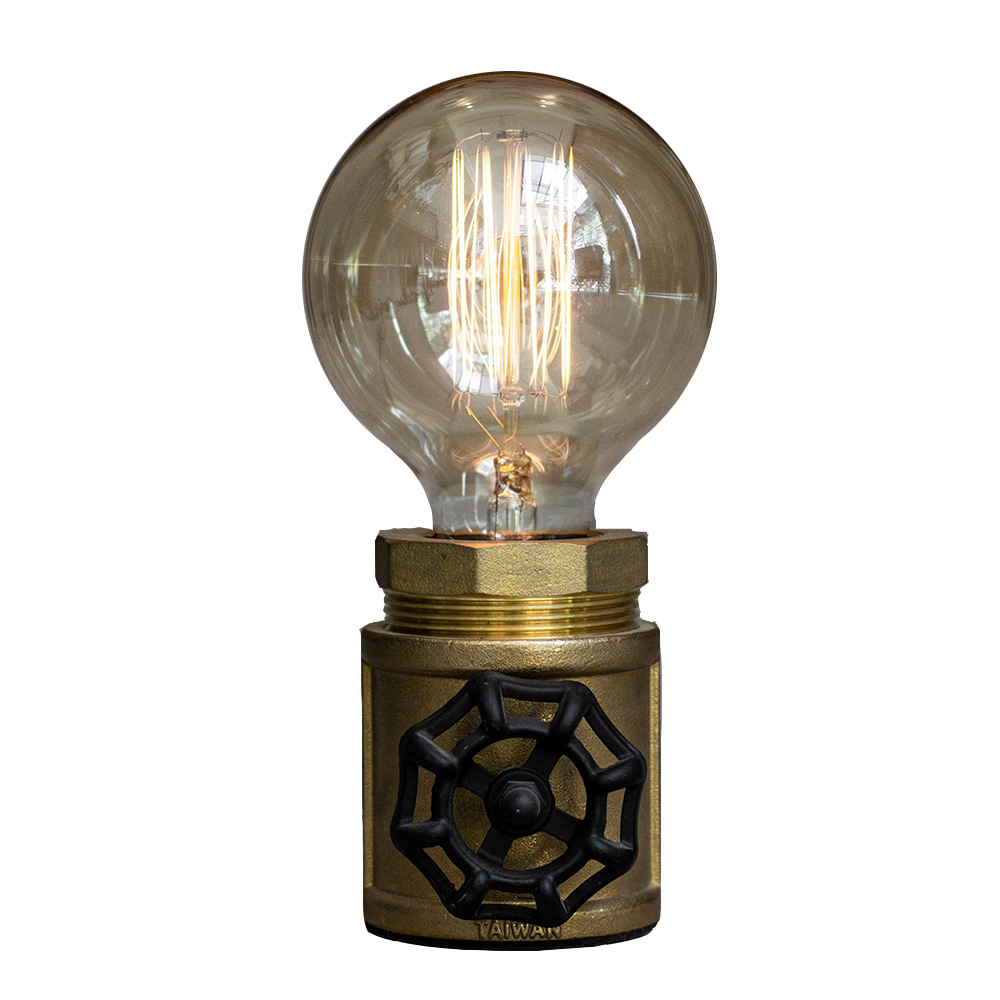 曙MUSE 復古風黃銅水管桌燈轉輪調光版