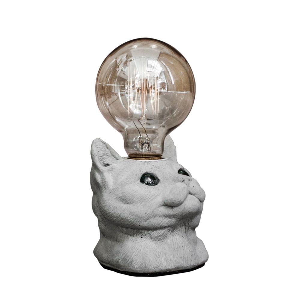 曙MUSE|仰望貓咪USB水泥桌燈