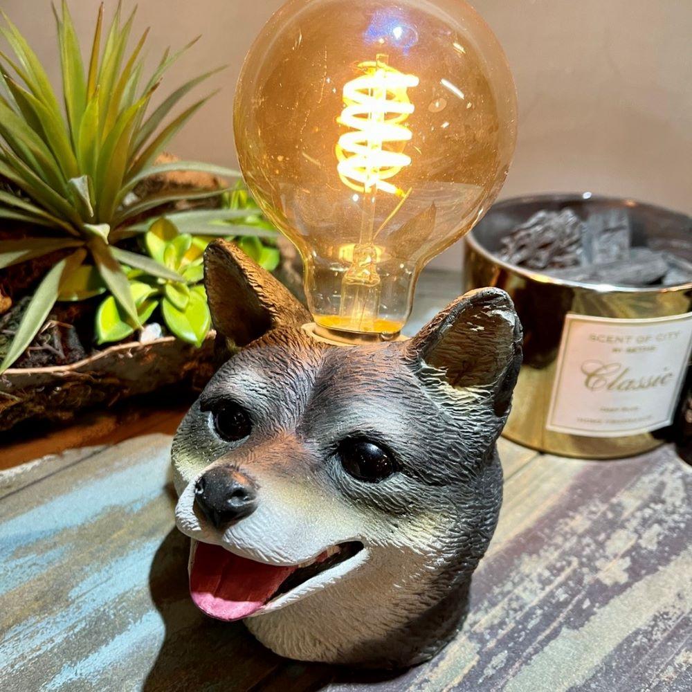 曙MUSE|柴犬微笑水泥桌燈 LED燈款