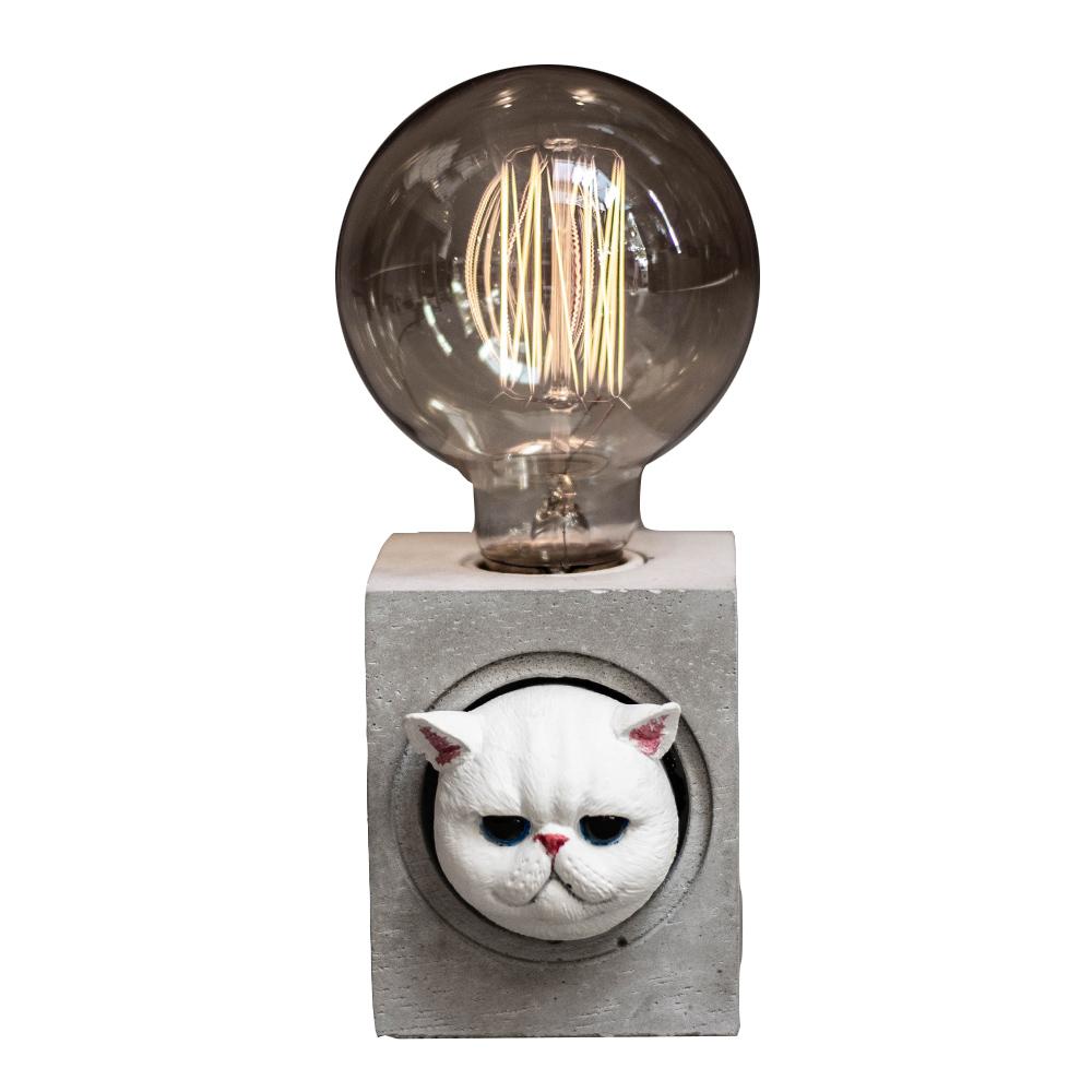 曙MUSE|波斯貓方形水泥桌燈