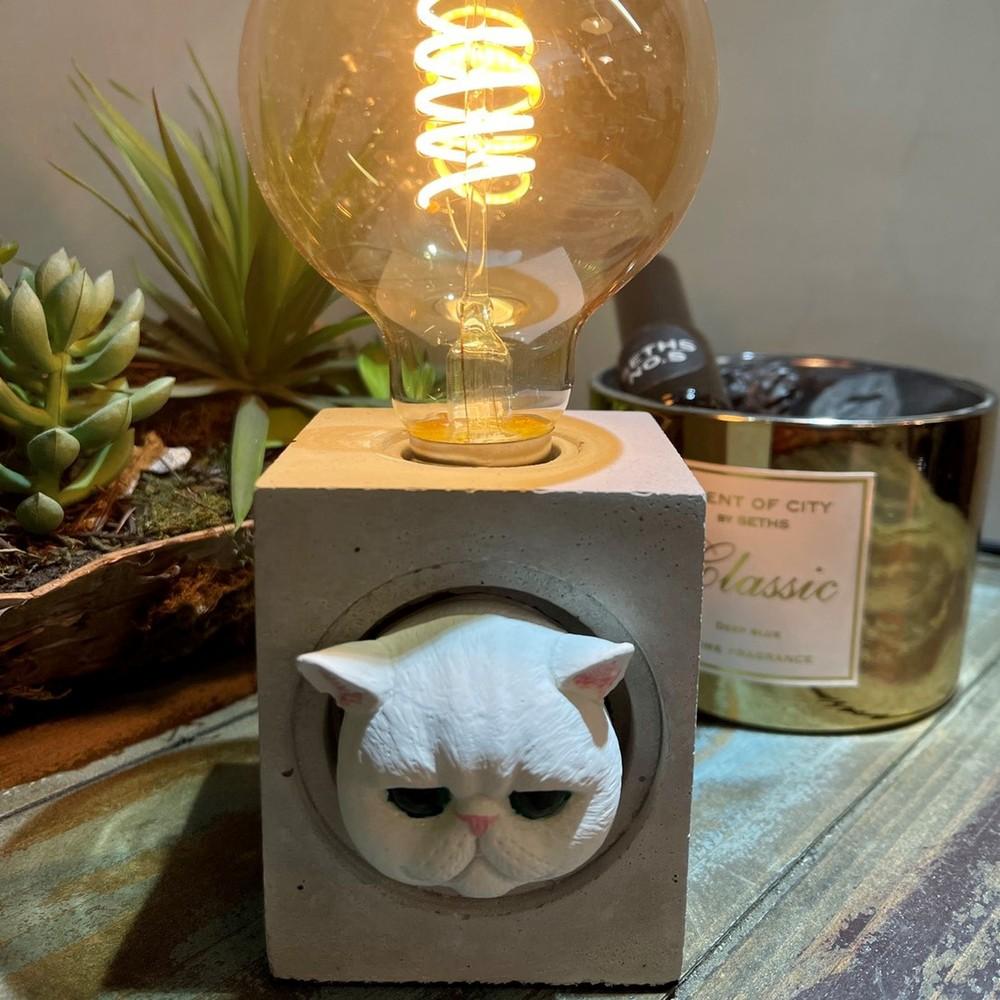 曙MUSE 波斯貓方形水泥桌燈 LED燈款